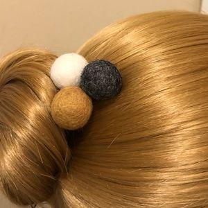 Wool Pom Pom Hair Bun Sticks Pins